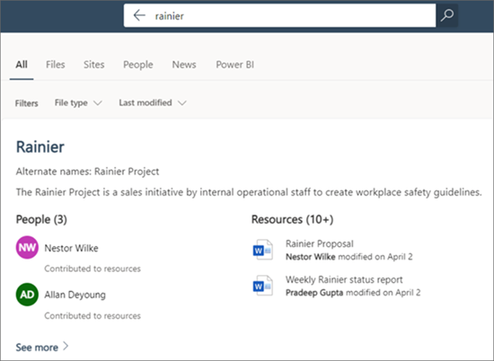 Screenshot showing the search results of a SharePoint site search.