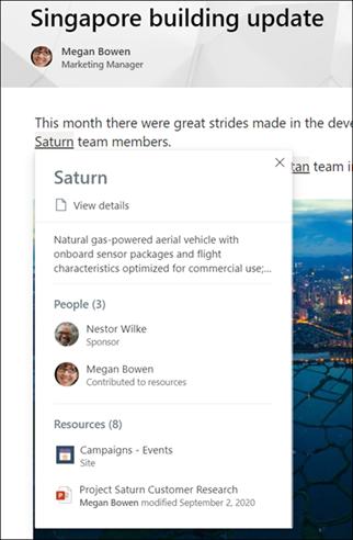 Screenshot showing topic highlights.